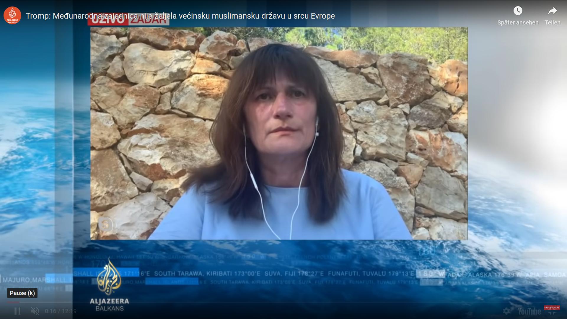 Dr. Nevenka Tromp, Al-Jazeera Balkans – Međunarodna zajednica nije željela većinsku muslimansku državu u srcu Evrope